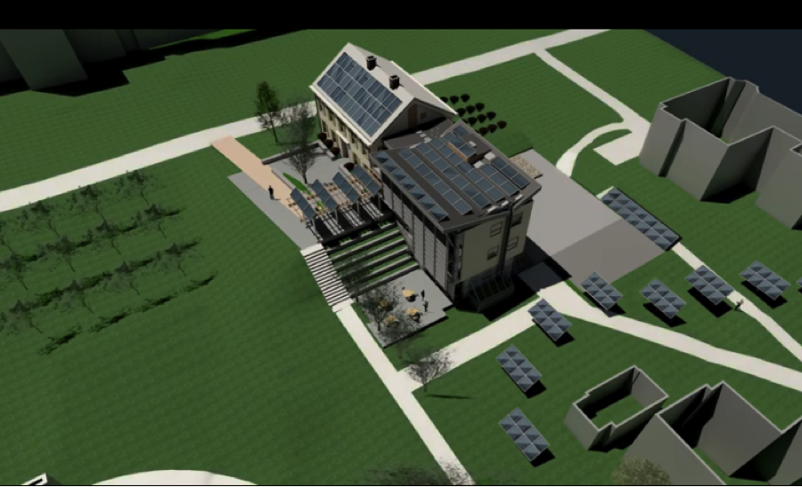 Birds-eye view highlighting photovoltaic panels on and around the environmental center