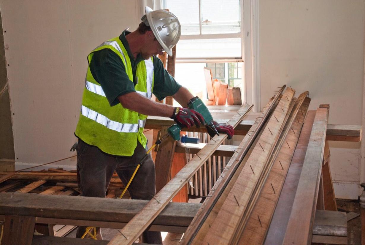 Denailing flooring--Seeley House